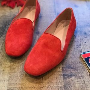 J.Crew Darby Orange-Red Suede Loafers Flats NEW
